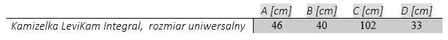 Kamizelka LeviKam Integral tabela wymiarów