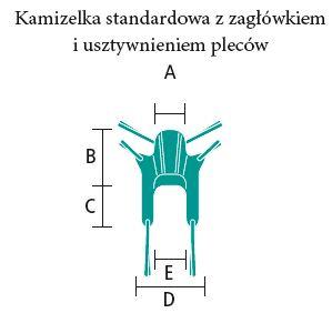 kamizelka standardowa z zagłówkiem i usztywnieniem pleców wymiary